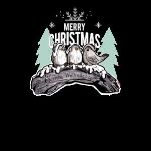 Weihnachten Vögelchen auf einen Baumstamm