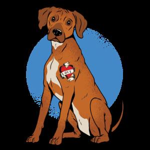 Rhodesian Ridgeback Hund taetowiert mit Herz