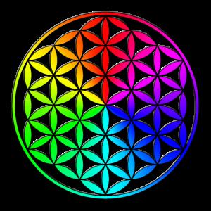 3D Blume des Lebens, Flower of life rainbow