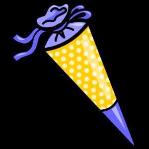 Gelb-blaue, gepunktete Schultüte