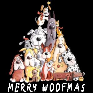 MERRY WOOFMAS Hunde Weihnachten Hundehaufen