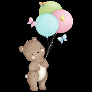 Bär mit Luftballons