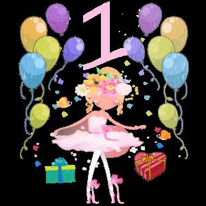 Ballerina Geburtstagsshirt 1 Jahr Mädchen