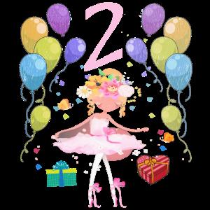 Ballerina Geburtstagsshirt 2 Jahre Mädchen