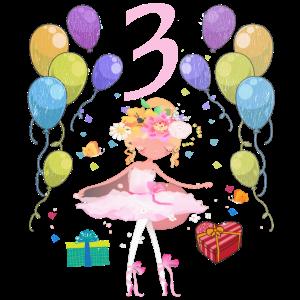 Ballerina Geburtstagsshirt 3 Jahre Mädchen