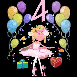 Ballerina Geburtstagsshirt 4 Jahre Mädchen