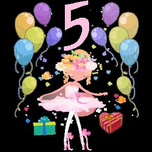 Ballerina Geburtstagsshirt 5 Jahre Mädchen