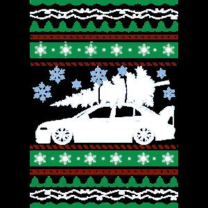 Die hässliche lustige Weihnachtsstrickjacke holen einen Baum nach Hause