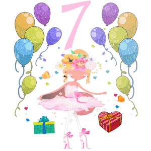 Ballerina Geburtstagsshirt 7 Jahre Mädchen