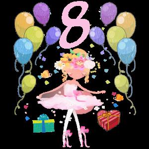 Ballerina Geburtstagsshirt 8 Jahre Mädchen