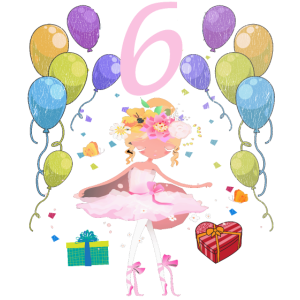 Ballerina Geburtstagsshirt 6 Jahre Mädchen