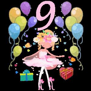 Ballerina Geburtstagsshirt 9 Jahre Mädchen