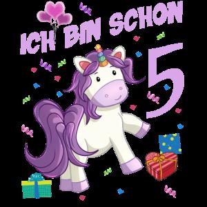 Mädchen Geburstag 5 Jahre Einhorn Geburtstagsshirt
