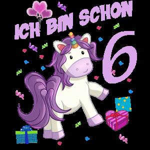 Mädchen Geburstag 6 Jahre Einhorn Geburtstagsshirt