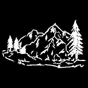 Berge Bäume Fluss Natur