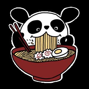 Panda liebt japanische Ramen Nudelsuppe