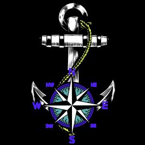 Anker Nautik Maritim Seemann Kompass Ahoi