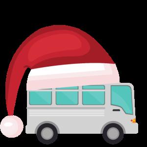 Winter Camper Wohnmobil mit Zipfelmuetze