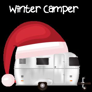 Winter Camper Wohnwagen mit Zipfelmuetze