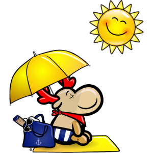 Elch Elmondo genießt am Strand die Sonne