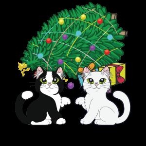 Weihnachtskatzen unter Weihnachtsbaum-Feriengeschenk
