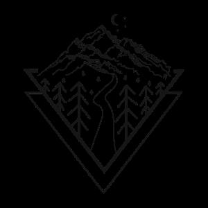 Pfad Berge Wald Mond Kunst Zeichnung