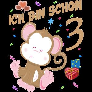Kinder Affen Geburtstagsshirt 3 Jahre