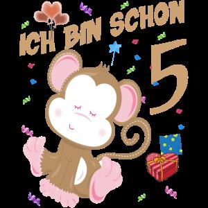 Kinder Affen Geburtstagsshirt – Geburstag 5 Jahre