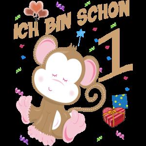 Kinder Affen Geburtstagsshirt 1 Jahr