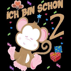 Kinder Affen Geburtstagsshirt 2 Jahre