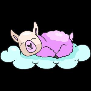 Lama rosa Wolke schlafen Müde Geschenk Alpaka