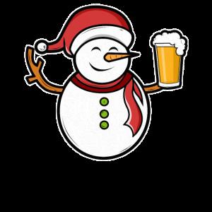 Weihnachtsfeier Schneemann Bier