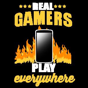 Echte Gamer Zocken Daddeln Mobil Handy Gaming