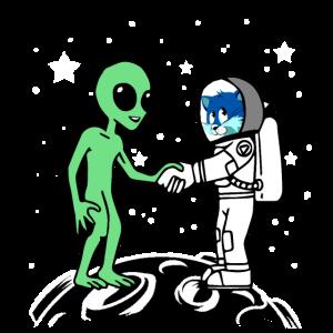 Astronaut Alien Katze Mond Planet Raumfahrt