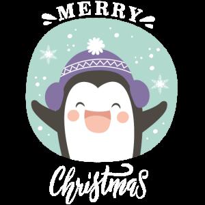 Cute Penguin Merry Christmas Snow