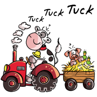 Tuck Tuck Kuh fährt Schwein