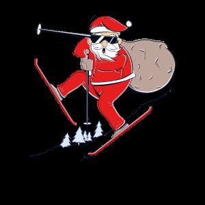 Lustiger Weihnachtsmann auf Ski