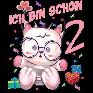 Katzen Geburtstagsshirt – Geburstag 2 Jahre