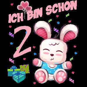 Hasen Geburtstagsshirt – Geburtstag 2 Jahre