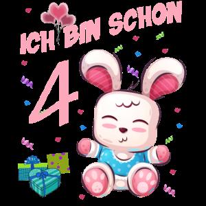 Hasen Geburtstagsshirt – Geburtstag 4 Jahre