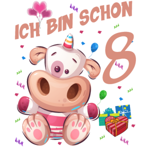 Kuh Geburtstagsshirt – Ich bin schon 8 Jahre