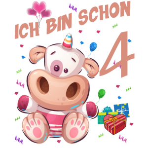 Kuh Geburtstagsshirt – Ich bin schon 4 Jahre