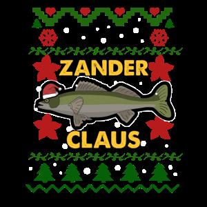 Zander Claus Weihnachten Angler Fisch Geschenk