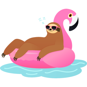 Sloth Sleeping On Flamingo Pool Float