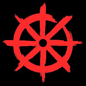 Dharmachakra Buddhismus Rad der Lehre Rot