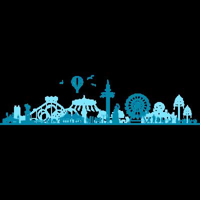 Skyline - München Oktoberfest - Skyline - München Oktoberfest - zelt,wiesn,volksfest,theresienwiese,stadt,skyline,silhouette,rummel,riesenrad,oktoberfest,münchner,münchen,kirmes,karusell,hintergrund,frauenkirche,festzelt,fest,feiern,feier,bierzelt,bier,bayern,bavaria,achterbahn