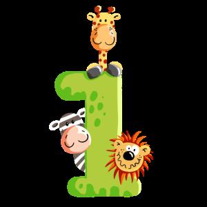 Erster Geburtstag - Baby - Kinder - Tiere - Eins