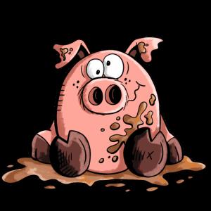 Schwein im Schlamm - Schweine - Sau - Wutz
