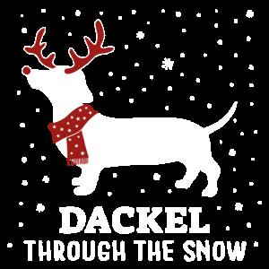 Dackel through the snow Weihnachten Geschenk