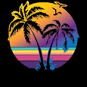 Vintager Sonnenuntergang-Palme-Geschenk-Entwurfs-Ideen-Strand